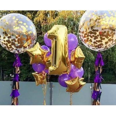 Букет с золотой цифрой и большими шарами