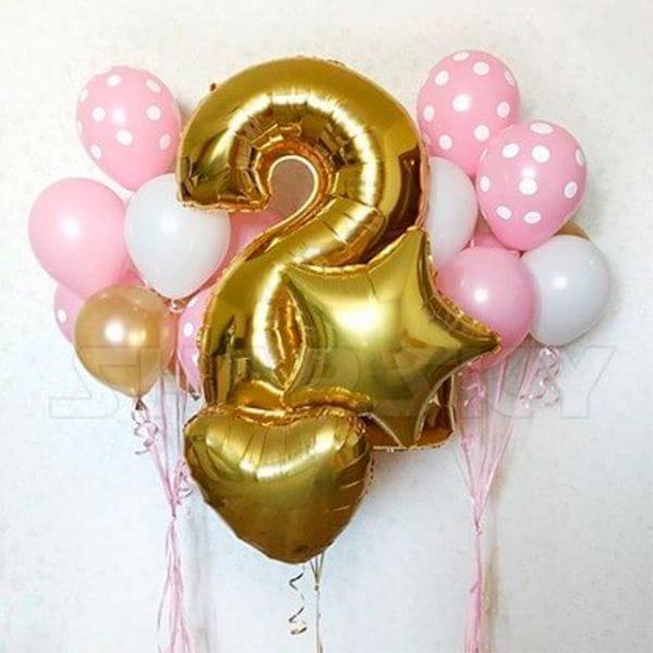 Воздушные шары. Доставка в Москве: Шары на День Рождения девочке 2 года Цены на https://sharsky.msk.ru/