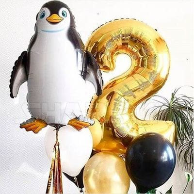 Букет шаров на 2 года с пингвиином