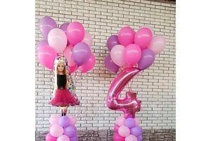 Букет с розовой цифрой и Барби