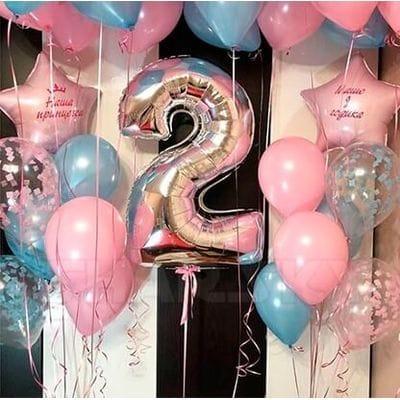 Композиция из шаров на 2 года девочке