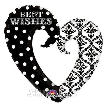 "Шар ""Сердце-вензель Best Wishes"", 81 см"