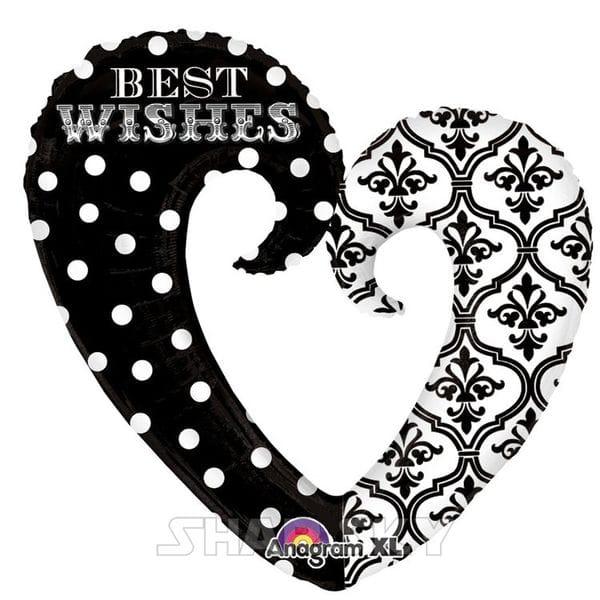 """Воздушные шары. Доставка в Москве: Шар """"Сердце-вензель Best Wishes"""", 81 см Цены на https://sharsky.msk.ru/"""