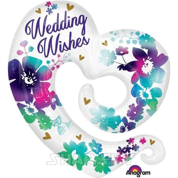 """Воздушные шары. Доставка в Москве: Шар """"Сердце-вензель Wedding Wishes"""", 78 см Цены на https://sharsky.msk.ru/"""