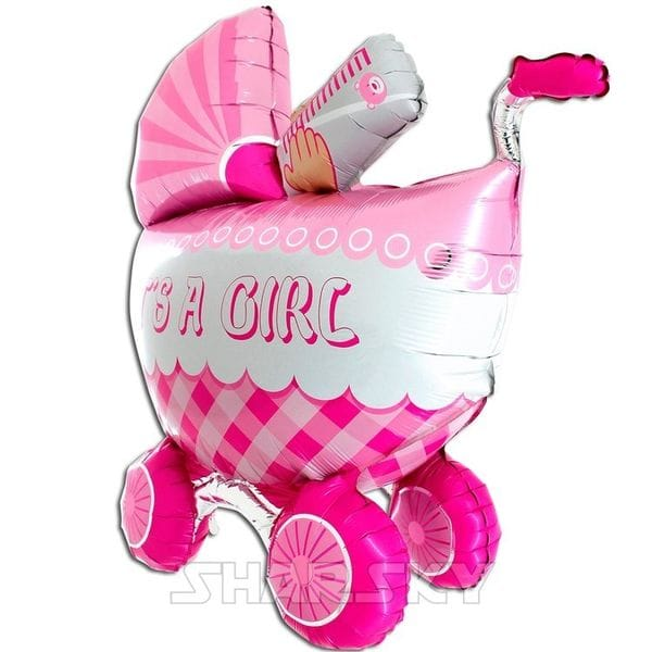 """Воздушные шары. Доставка в Москве: Шар """"Коляска для девочки"""", 107 см Цены на https://sharsky.msk.ru/"""