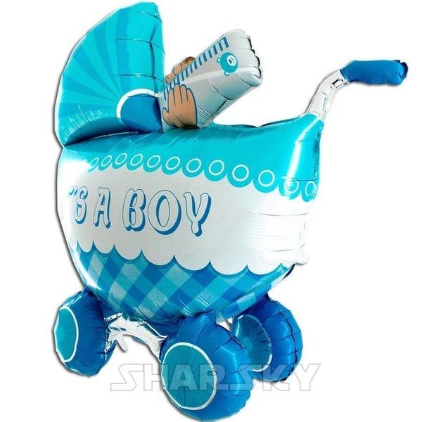 """Воздушные шары. Доставка в Москве: Шар """"Коляска для мальчика"""", 107 см Цены на https://sharsky.msk.ru/"""