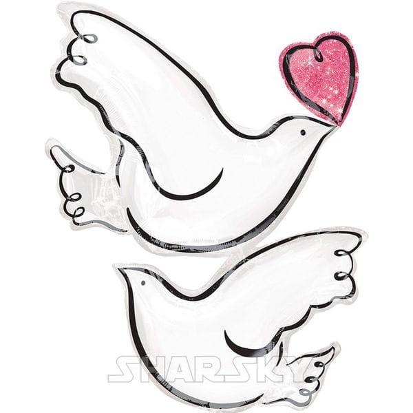 """Воздушные шары. Доставка в Москве: Шар """"Свадебные голуби"""", 81 см Цены на https://sharsky.msk.ru/"""