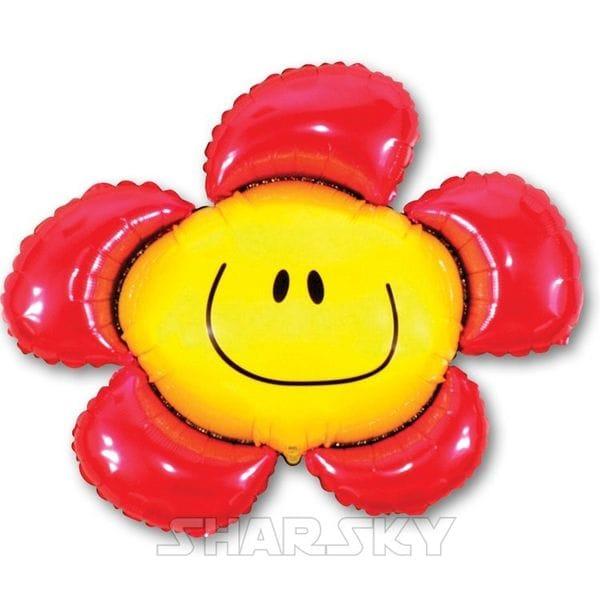 """Воздушные шары. Доставка в Москве: Шар """"Смайл цветок"""", 104 см Цены на https://sharsky.msk.ru/"""