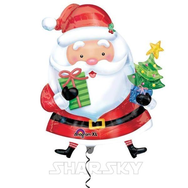 """Воздушные шары. Доставка в Москве: Шар """"Санта с елкой"""", 71 см Цены на https://sharsky.msk.ru/"""