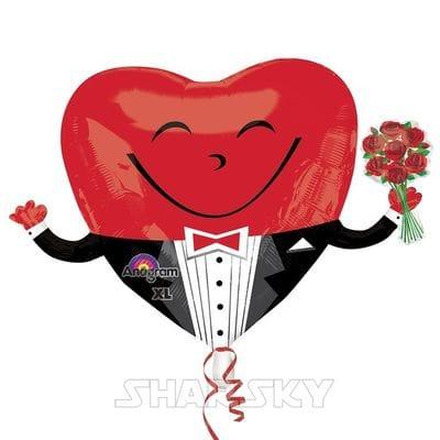 """Шар """"Сердце в смокинге с букетом"""", 109 см"""