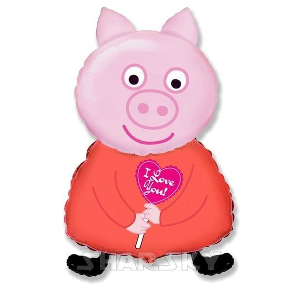 """Воздушные шары. Доставка в Москве: Шар """"Свинка с сердечком"""", 81 см Цены на https://sharsky.msk.ru/"""