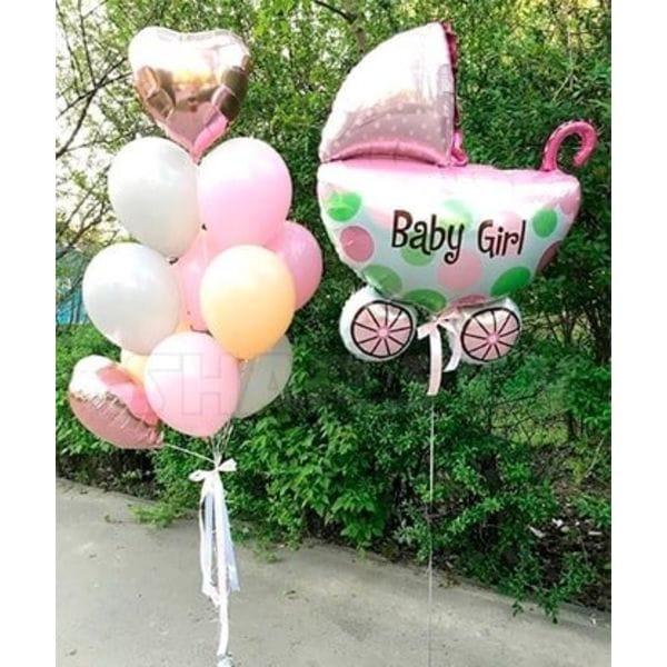 Воздушные шары. Доставка в Москве: Коляска для девочки с шариками Цены на https://sharsky.msk.ru/