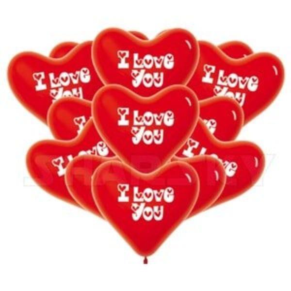 """Воздушные шары. Доставка в Москве: Красные сердца """"I LOVE YOU"""", 40 см Цены на https://sharsky.msk.ru/"""
