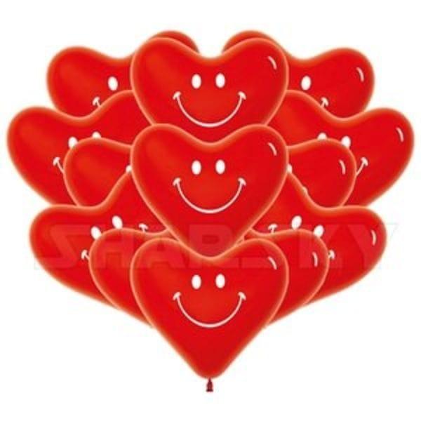 """Воздушные шары. Доставка в Москве: Красные сердца """"Смайл"""", 40 см Цены на https://sharsky.msk.ru/"""