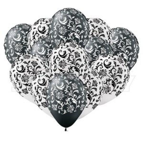 Воздушные шары. Доставка в Москве: Черно-белые шарики с узором, 35 см Цены на https://sharsky.msk.ru/