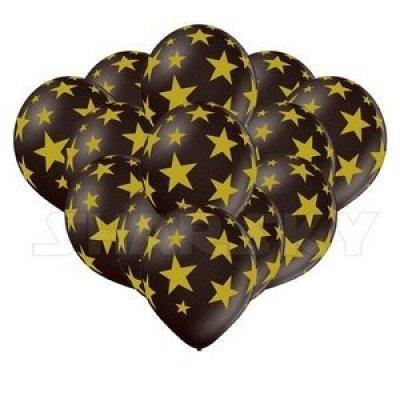 Черные шарики со звездами, 35 см
