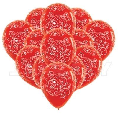 Красные шарики с узором, 35 см