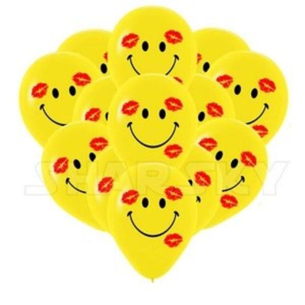 Воздушные шары. Доставка в Москве: Шарики смайлы с поцелуями, 35 см Цены на https://sharsky.msk.ru/