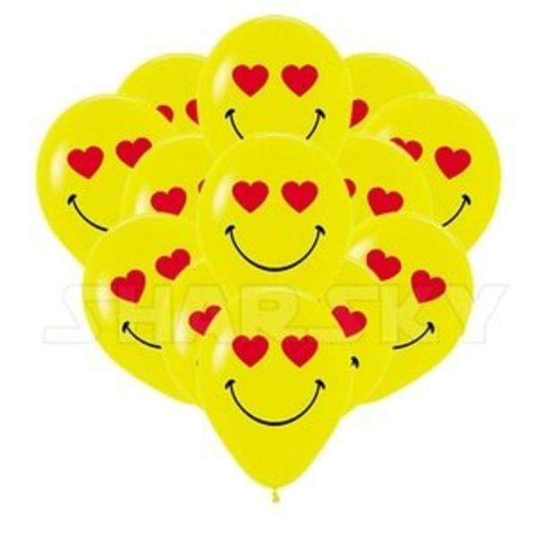 Воздушные шары. Доставка в Москве: Шарики смайлы с сердцами, 35 см Цены на https://sharsky.msk.ru/