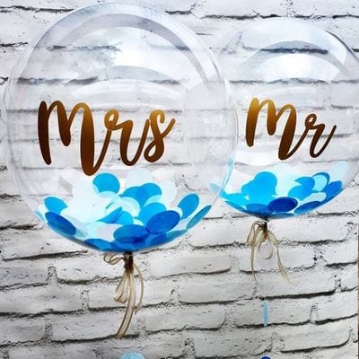 Большие шары с надписями на Свадьбу