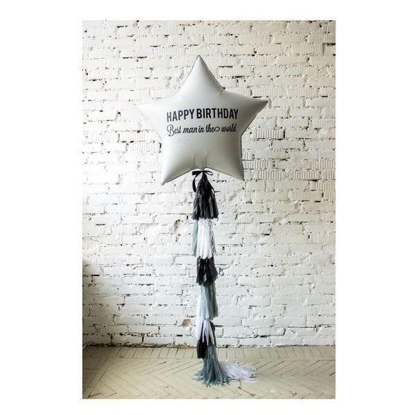 Воздушные шары. Доставка в Москве: Шар большая звезда с надписью и бахромой Цены на https://sharsky.msk.ru/