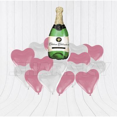 Бутылка шампанского с сердцами