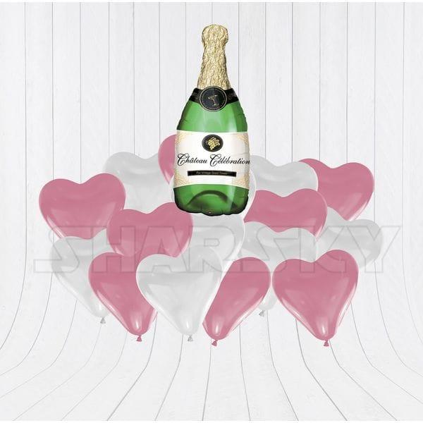 Воздушные шары. Доставка в Москве: Бутылка шампанского с сердцами Цены на https://sharsky.msk.ru/