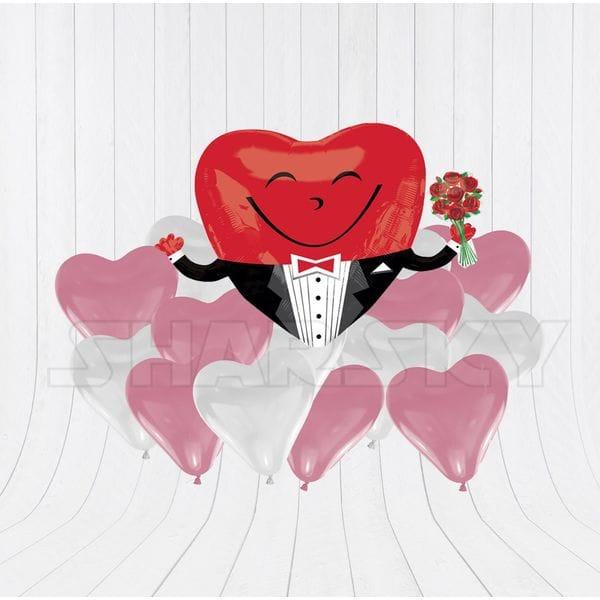 Воздушные шары. Доставка в Москве: Сердце во фраке с латексными сердцами Цены на https://sharsky.msk.ru/