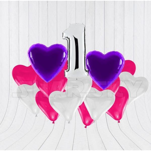 Воздушные шары. Доставка в Москве: Цифра с сердцами для девочки Цены на https://sharsky.msk.ru/