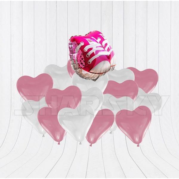 Воздушные шары. Доставка в Москве: Ботиночки с сердцами для девочки Цены на https://sharsky.msk.ru/