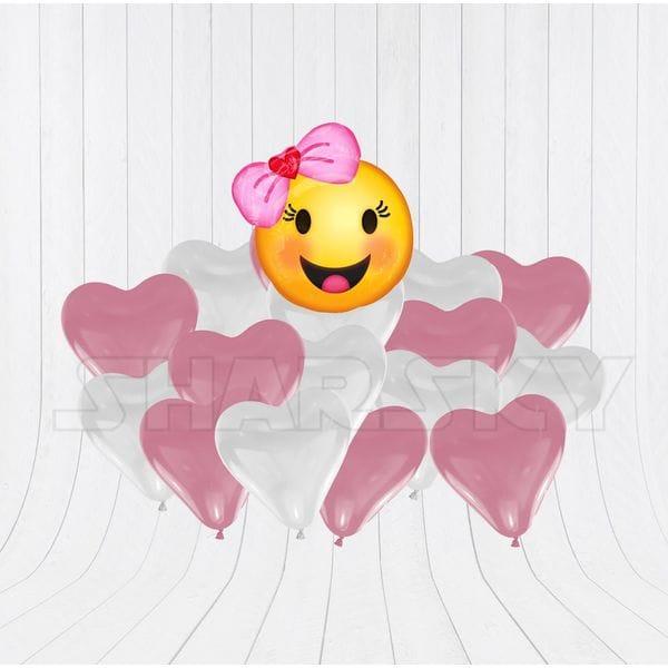 Воздушные шары. Доставка в Москве: Девочка с бантом и с сердцами Цены на https://sharsky.msk.ru/