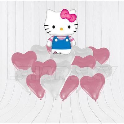"""Букет шаров """"Хелло Китти с сердцами для девочки"""""""
