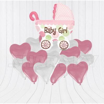 Коляска с сердцами для девочки