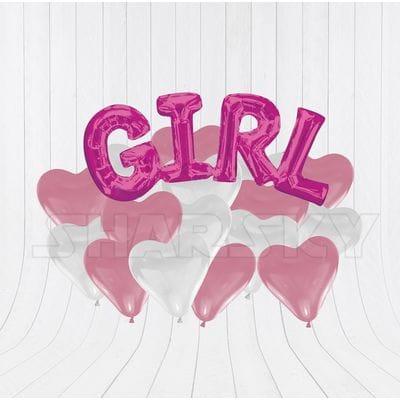Надпись GIRL с сердцами