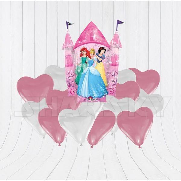 Воздушные шары. Доставка в Москве: Принцессы с сердцами для девочки Цены на https://sharsky.msk.ru/