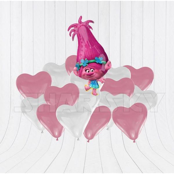 Воздушные шары. Доставка в Москве: Тролль Розочка с сердцами Цены на https://sharsky.msk.ru/