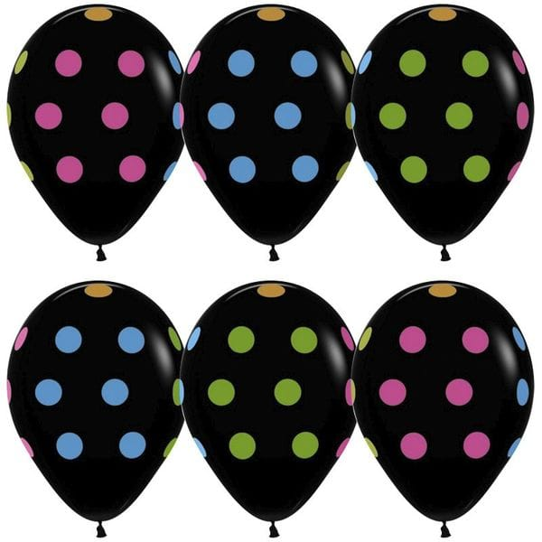 Воздушные шары. Доставка в Москве: Черные шарики в горох, 35 см Цены на https://sharsky.msk.ru/