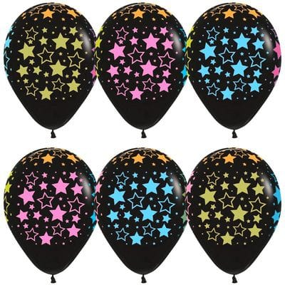 Черные шарики с разноцветными звездами, 35 см