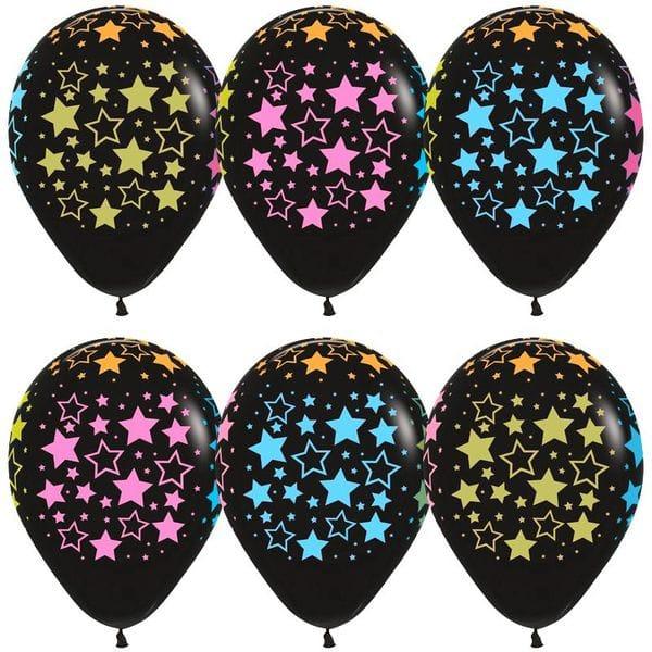 Воздушные шары. Доставка в Москве: Черные шарики с разноцветными звездами, 35 см Цены на https://sharsky.msk.ru/