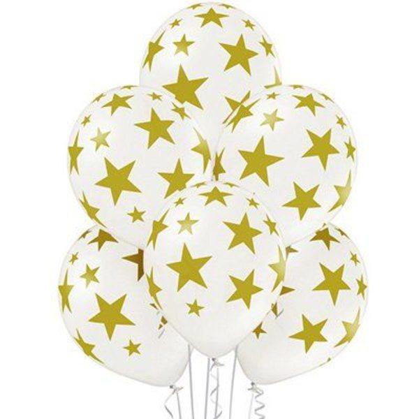 Воздушные шары. Доставка в Москве: Белые шарики со звездами Цены на https://sharsky.msk.ru/