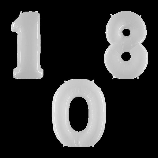 Воздушные шары. Доставка в Москве: Белые цифры Цены на https://sharsky.msk.ru/