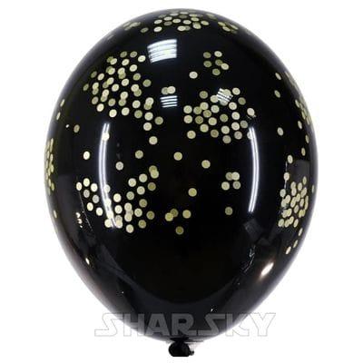 Черные шары с конфетти, 35 см