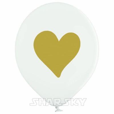 Белые шары с сердцем, 35 см