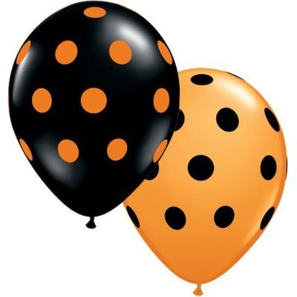 Воздушные шары. Доставка в Москве: Шары черно-оранжевые в горох, 35 см Цены на https://sharsky.msk.ru/