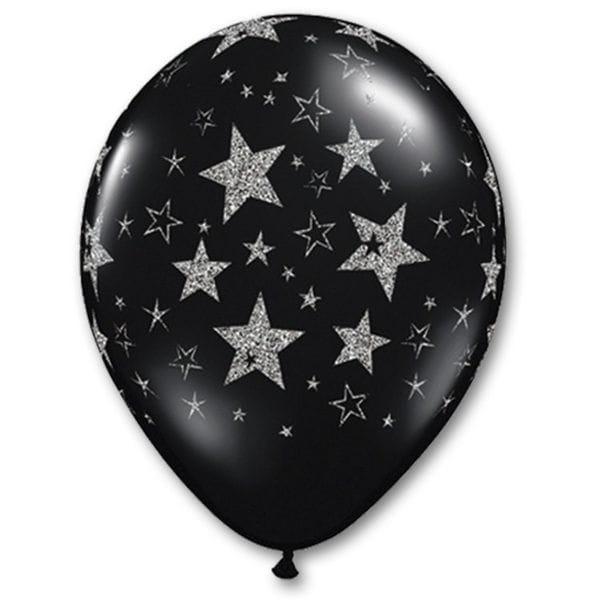Воздушные шары. Доставка в Москве: Шары черные с серебряными звездами, 35 см Цены на https://sharsky.msk.ru/