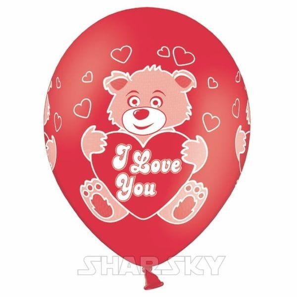 """Воздушные шары. Доставка в Москве: Шарики """"Мишка I love you"""", 35 см Цены на https://sharsky.msk.ru/"""