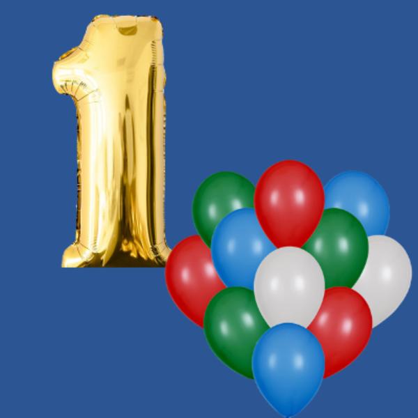 Воздушные шары. Доставка в Москве: 1 любая цифра и 21 любой шар Цены на https://sharsky.msk.ru/