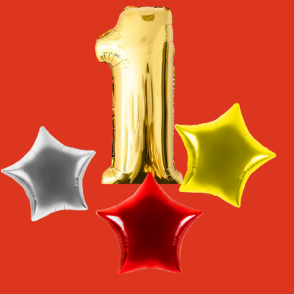 Воздушные шары. Доставка в Москве: 1 любая цифра и 3 любые звезды Цены на https://sharsky.msk.ru/