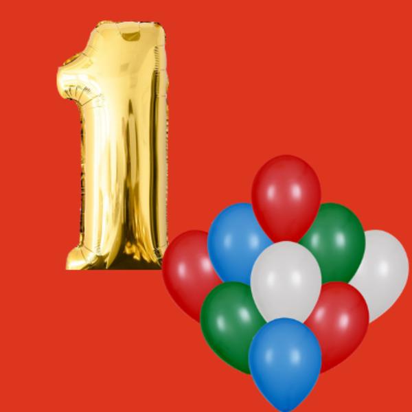 Воздушные шары. Доставка в Москве: 1 любая цифра и 9 любых шаров Цены на https://sharsky.msk.ru/