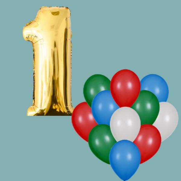 Воздушные шары. Доставка в Москве: 1 любая цифра и 15 любых шаров Цены на https://sharsky.msk.ru/